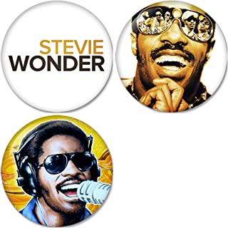 Stevie Wonder : As Pinback Buttons Badges/Pin 1.25 Inch (32mm) Set of 3 New