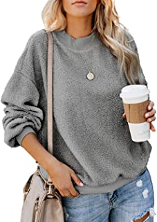 Aifer Womens Fuzzy Sweatshirt Long Sleeve Sweater Crewneck Pullover Plain Sherpa Warm Outwear Tops