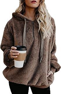 Womens Sherpa Pullover Fuzzy Fleece Sweatshirt Oversized Hoodie With Pockets Hooded Pullover Sweat Shirt Heavy Blend 50/50 7.75 oz. by Gildan (Style# 18500) Women's Powerblend Fleece Hoodie Womens Oversized Sherpa Pullover Hoodie with Pockets Fuzzy Fleece Sweatshirt Fluffy Coat