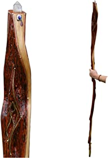 Tall Wizard Walking Staff Inlaid with Quartz Crystal - Diamond Willow Wood - Handcrafted OOAK