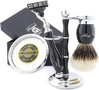 Haryali London Czarny zestaw do golenia 5 szt. z 3-krawędziową maszynką, pędzel i stojak idealny zestaw dla mężczyzn