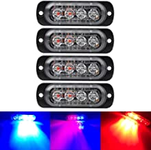 4PCS Ultra Thin Red&Blue 4LEDs Warning Emergency Caution light Flash Strobe Light Bar Surface Mount For Car Van Truck Jeep Pickup,Motorcycle
