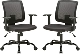 CLATINA Mid-Back Mesh Office Desk Chair with Lumbar Support and Armrest Swivel Ergonomic Task for Home Computer Black 2 Pack