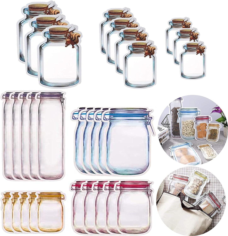 30 Piezas Bolsas Reutilizables de Botellas de Mason Jar, Bolsas Reutilizables de Botellas de Tarro de Masón, Bolsas de Botellas Mason Jar, para Almacenar Dulces, Bocadillos, Comida o Té