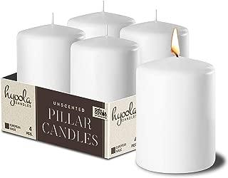 HYOOLA White Pillar Candles 2x3 Inch - Unscented Pillar Candles - Set of 4 - European Made