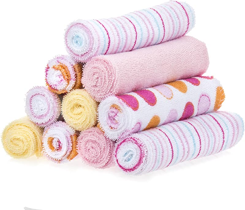 Spasilk 10 Pack Soft Terry Washcloth Pink