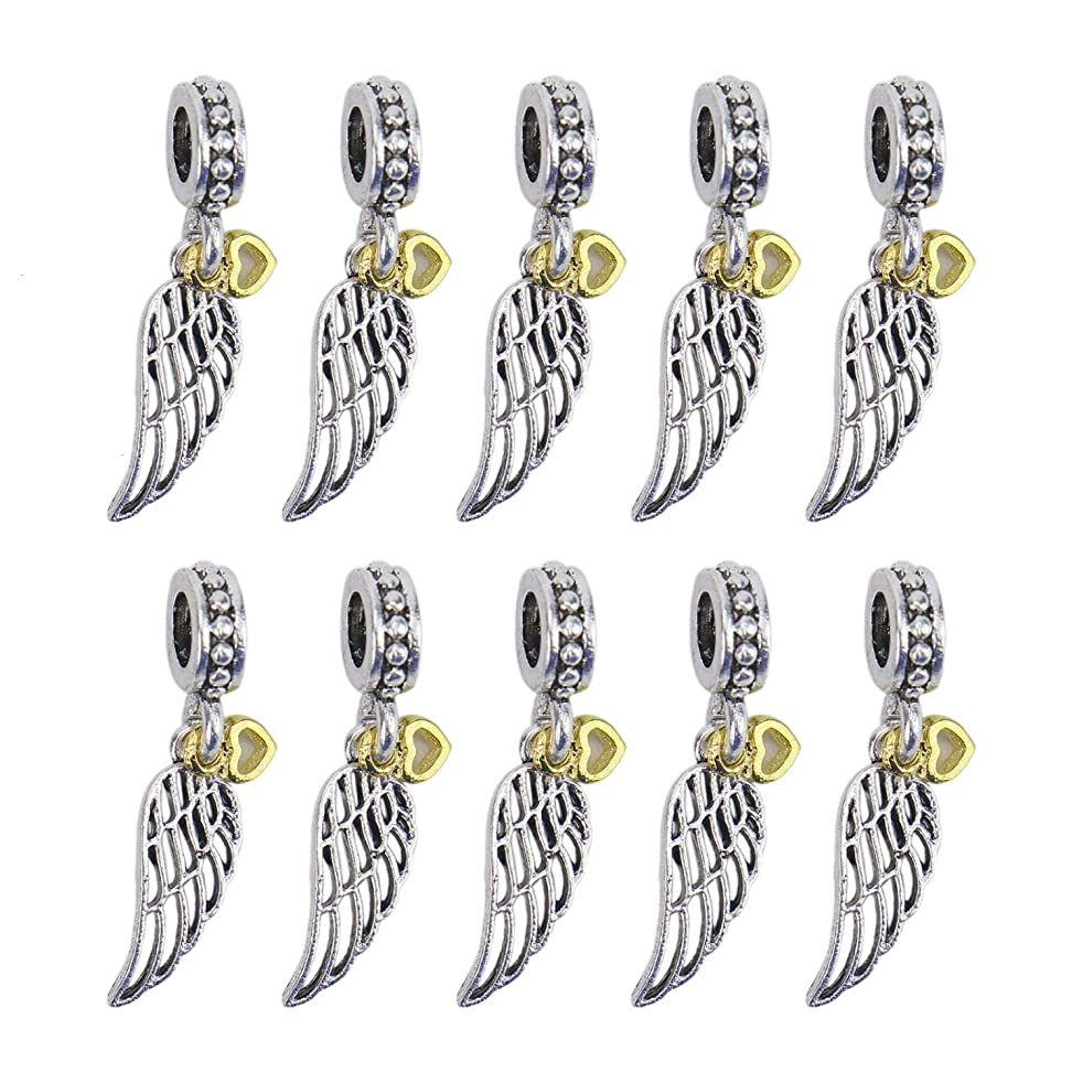 Monrocco 10 Pieces Alloy Angel Wings Dangle Beads Charms Pendants for European Charm Bracelets, Jewelry Findings Making Accessory for DIY Necklace Bracelet