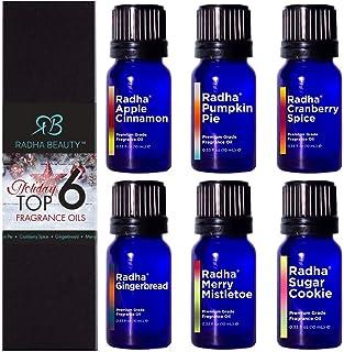 Radha Beauty - Holiday Top 6 Premium Grade Fragrance Oil Gift Set (10ml) - Apple Cinnamon, Pumpkin Pie, Cranberry Spice, G...