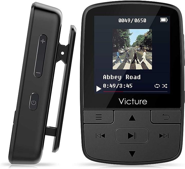 Lettore mp3 bluetooth con clip 8gb mp3 player con radio fm-victure M3