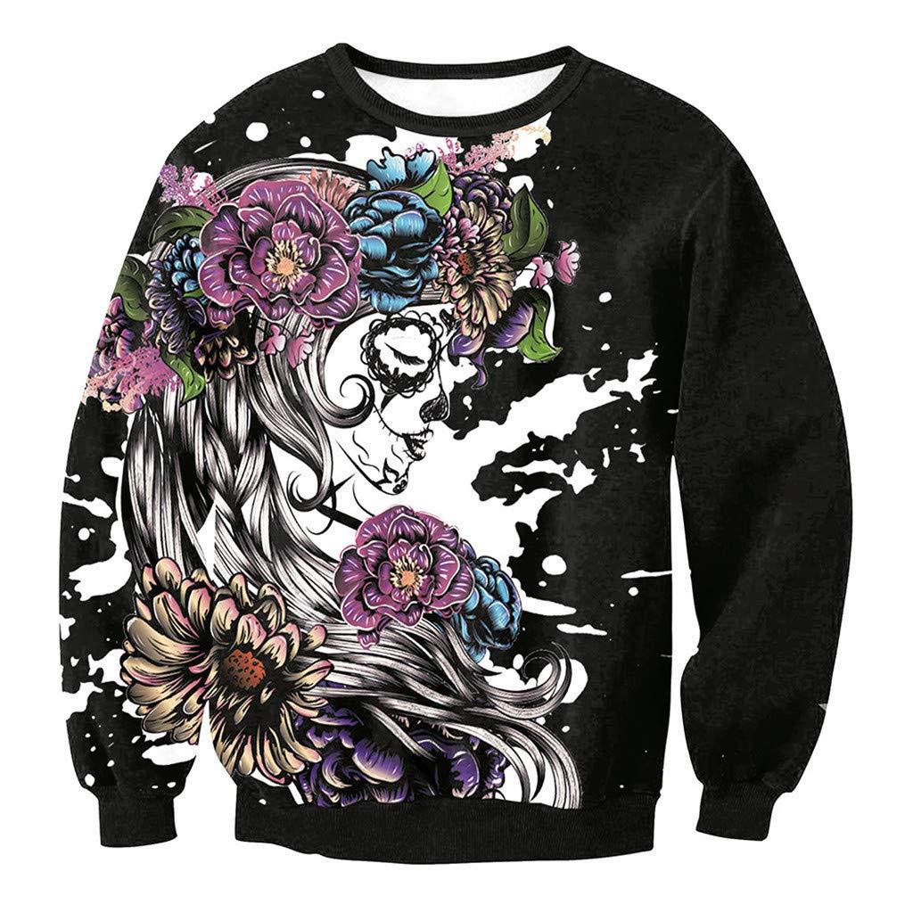 Mens Casual Pullover Shirt Scary Halloween 3D Print Top Shirt Long Sleeve Top Blouse