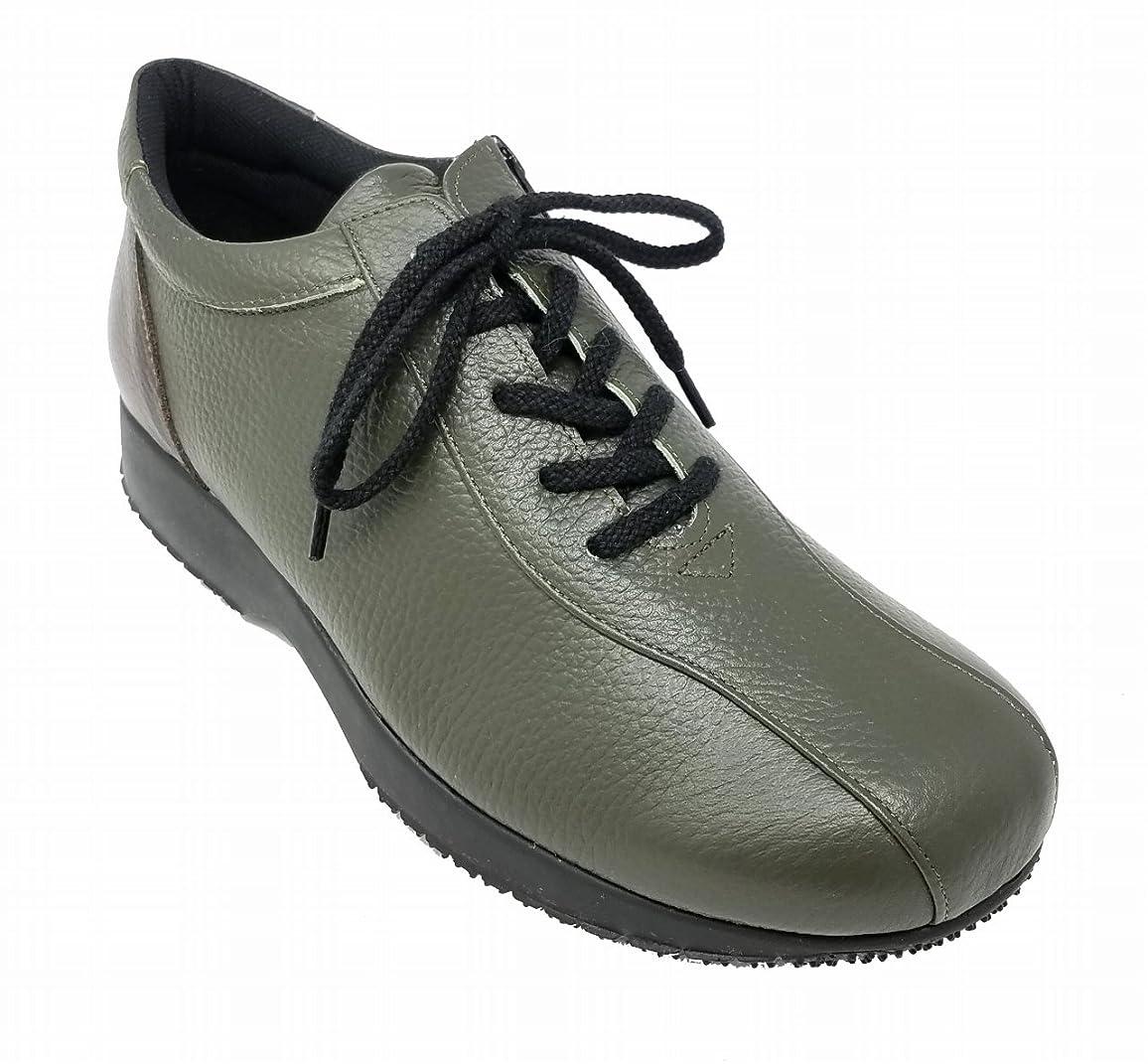 巨大キャラバン宿泊施設Donna di Casa レディース 婦人靴 4E カジュアル HS3172 カーキDBR【ファスナー】【本革】【日本製】
