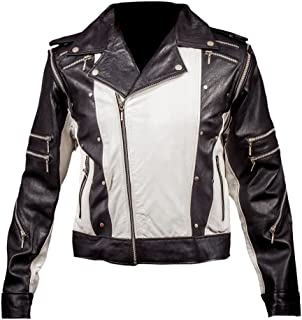 Men Genuine Black Leather Motorcycle Jacket Size 6 Xl Jade White Apparel & Merchandise