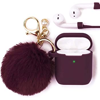 Filoto Case for Airpods, Airpod Case Cover for Apple Airpods 2&1 Charging Case, Cute Air Pods Silicone Protective Accessories Cases/Keychain/Pompom/Strap, Best Gift for Girls and Women, Burgundy
