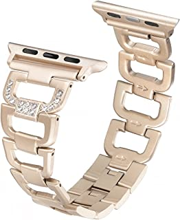 Secbolt Bling Band Compatible Apple Watch Band 38mm 40mm iWatch Series 5, Series 4, Series 3, Series 2, Series 1, Diamond Rhinestone Stainless Steel Metal Wristband Strap, Champagne Gold