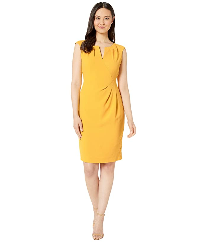 Adrianna Papell  Textured Crepe Side Drape Sheath Dress (Marigold) Womens Dress