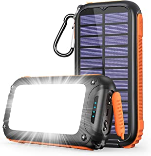 IXNINE Solar Charger 26800mAh Fast Charging Solar Power Bank USB C Solar Phone Charger with 3 Outputs & 32 LEDs Bright Lig...