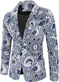Logobeing Chaqueta de Traje para Hombre, Nuevo Impreso Chaqueta Estampada de Manga Larga Dashiki Cardigan para Hombre Traje Blazer Abrigo Tops