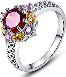 Veunora Delicate Flower Design 925 Sterling Silver Created Garnet Filled Ring for Women