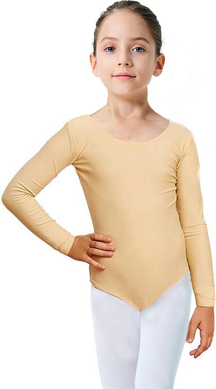 Finihen Girls Leotard Basic 5% OFF Long 2T Ballet Dance Minneapolis Mall Sleeve