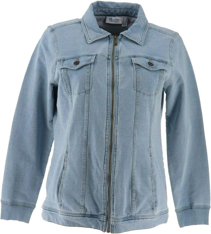 Denim& Co Comfy Knit Denim Zip-Front Jean Jacket A349249