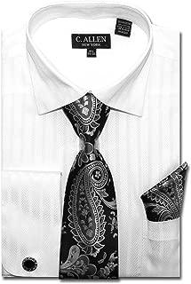 C. Allen Men's Regular Fit Dress Shirts with Tie Handkerchief Cufflinks Combo Solid Color Herringbone Stripe Pattern