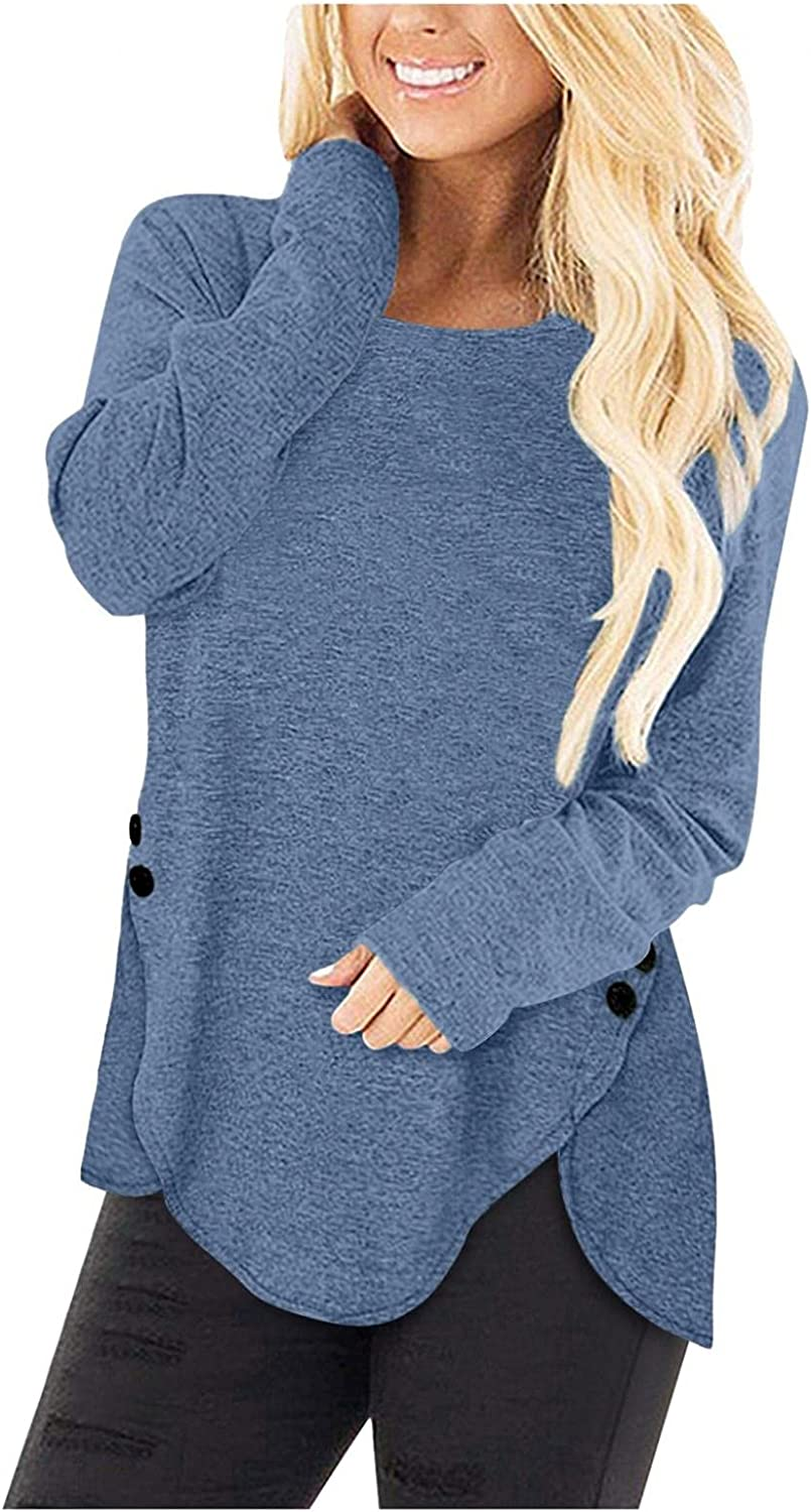 MASZONE Crewneck Sweatshirts for Women Aesthetic Long Sleeve Solid Color Pullover Shirts Casual Loose Tunic Blouses Tops