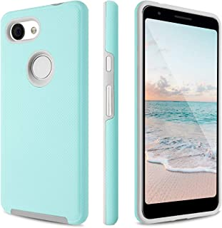 Fingic Google Pixel 3a Case, Pixel 3a Case, Dual Layer Hybrid Hard PC Soft TPU Shock Absorption Bumper Anti-Scratch Slim Protective Phone Case Cover for Google Pixel 3A 5.6 inch 2019, Mint Green