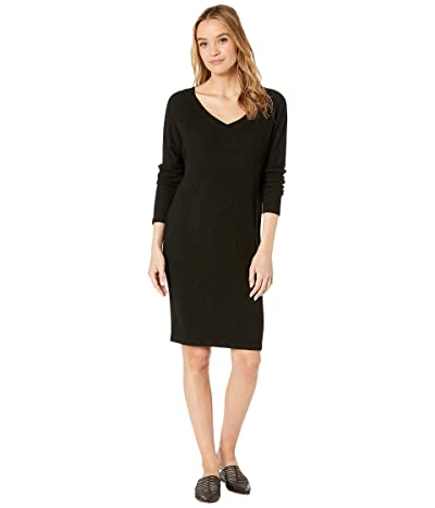 Hard Tail Long Sleeve V-Neck Dress (Black) Women