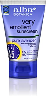 Alba Botanica Very Emollient, Lavender Sunscreen SPF 45, 4 Ounce (Pack of 2)