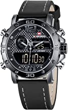 Mens Waterproof Sports Digital Leather Band Wrist Watch Multi-Function Display Backlight Watches (9134Black)