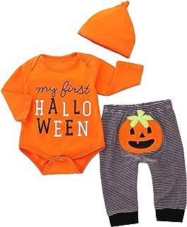 Borlai 3 stücke Baby Halloween Kürbis Outfits Mein Erstes Halloween Strampler Hosen Cap Fashion Baby Kleidung für 0-18 Monate