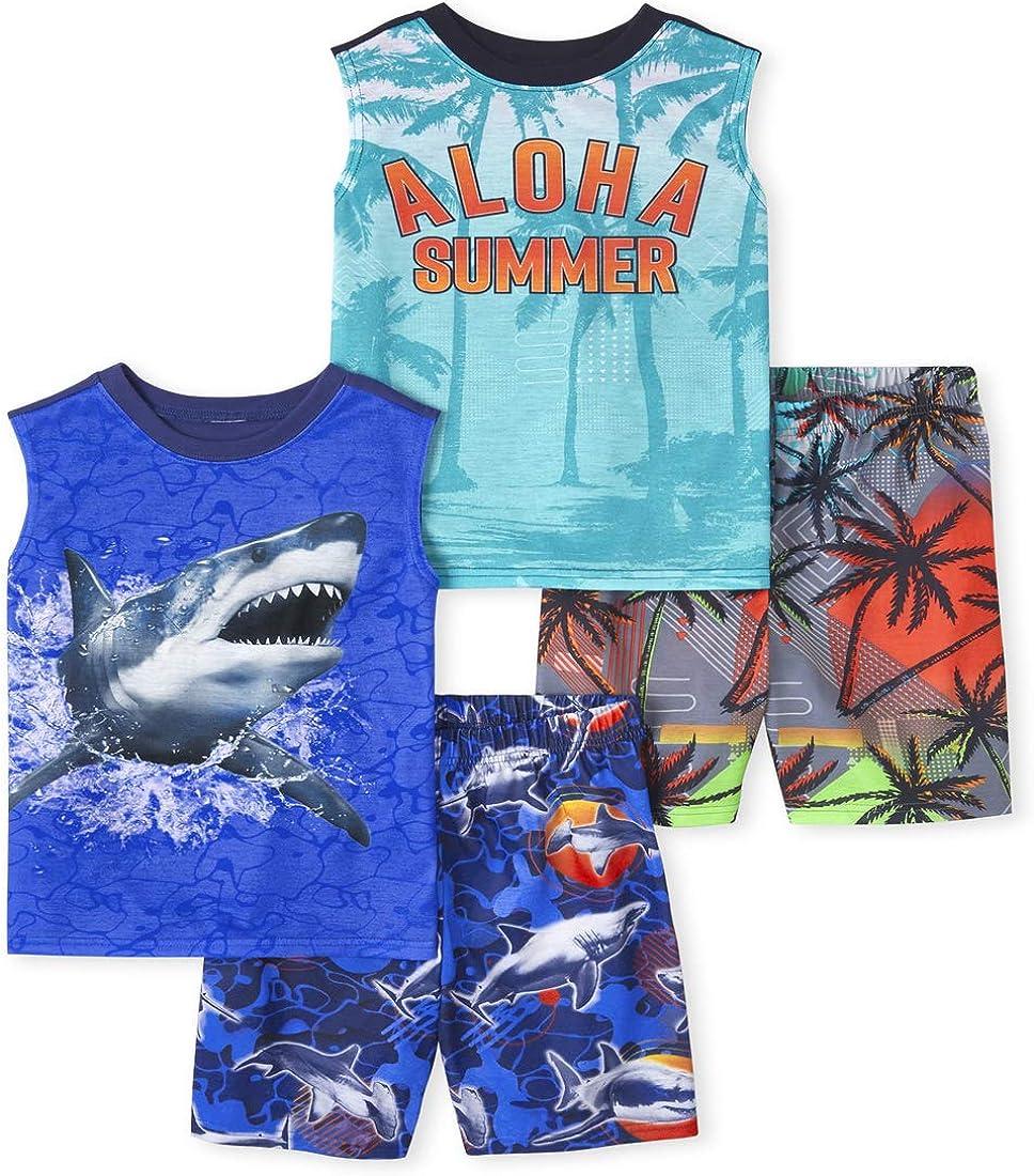 The Children's Place Boys Aloha Shark 4-Piece Pajamas