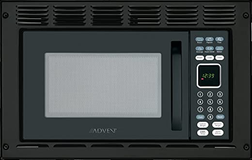 Advent MW912BWDK Black Built-in Microwave Oven with Wide Trim Kit PMWTRIM, For RV Recreational Vehicle, Trailer, Camper, Motor Home; 0.9 Cubic Feet, 900W, 10 Power Levels, Glass Turntable