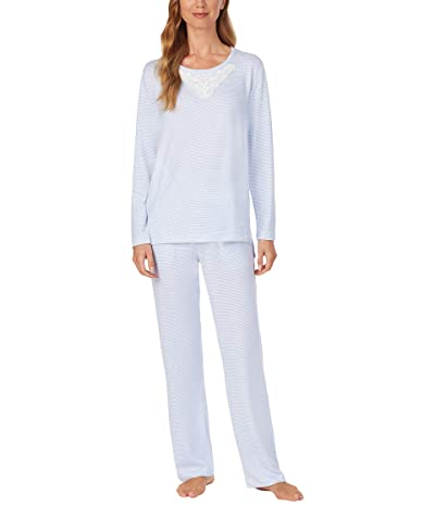 Carole Hochman Soft Sweater Knit Pajama Set (Blue Stripe) Women