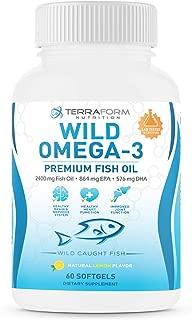 Triple Strength Fish Oil Omega 3 2400mg - Burpless, Lemon Flavored Non-GMO, Gluten & Soy Free – 30 Days