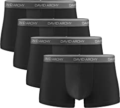 DAVID ARCHY Men's 4 Pack Ultra Soft Comfy Breathable Bamboo Rayon Trunks Underwear No Fly