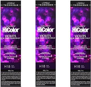 L'Oreal Excellence HiColor H18 Deep Violet Permanent Color HC-30650 (3 Pack)