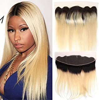black roots blonde hair frontal