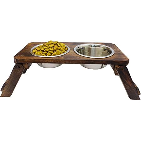 Naaz Wooden Dog Bowls Stand with 2 Stainless Steel Bowl for Water and Food for Dogs. 1600ml x 2 pet Bowls.
