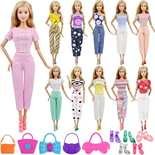 Ecore Fun Lot 15 Item Girl Doll Clothes Casual Outfits Accessories for 11.5 Inch Girl Doll - Random Style 5 Clothes + 5 Bags + 5 Shoes