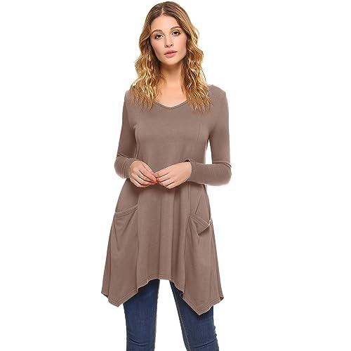 7ad1638eca5e41 iClosam Women V-Neck Long Sleeve Asymmetric Hem Tunic Irregular Top Flowy  Flare T-