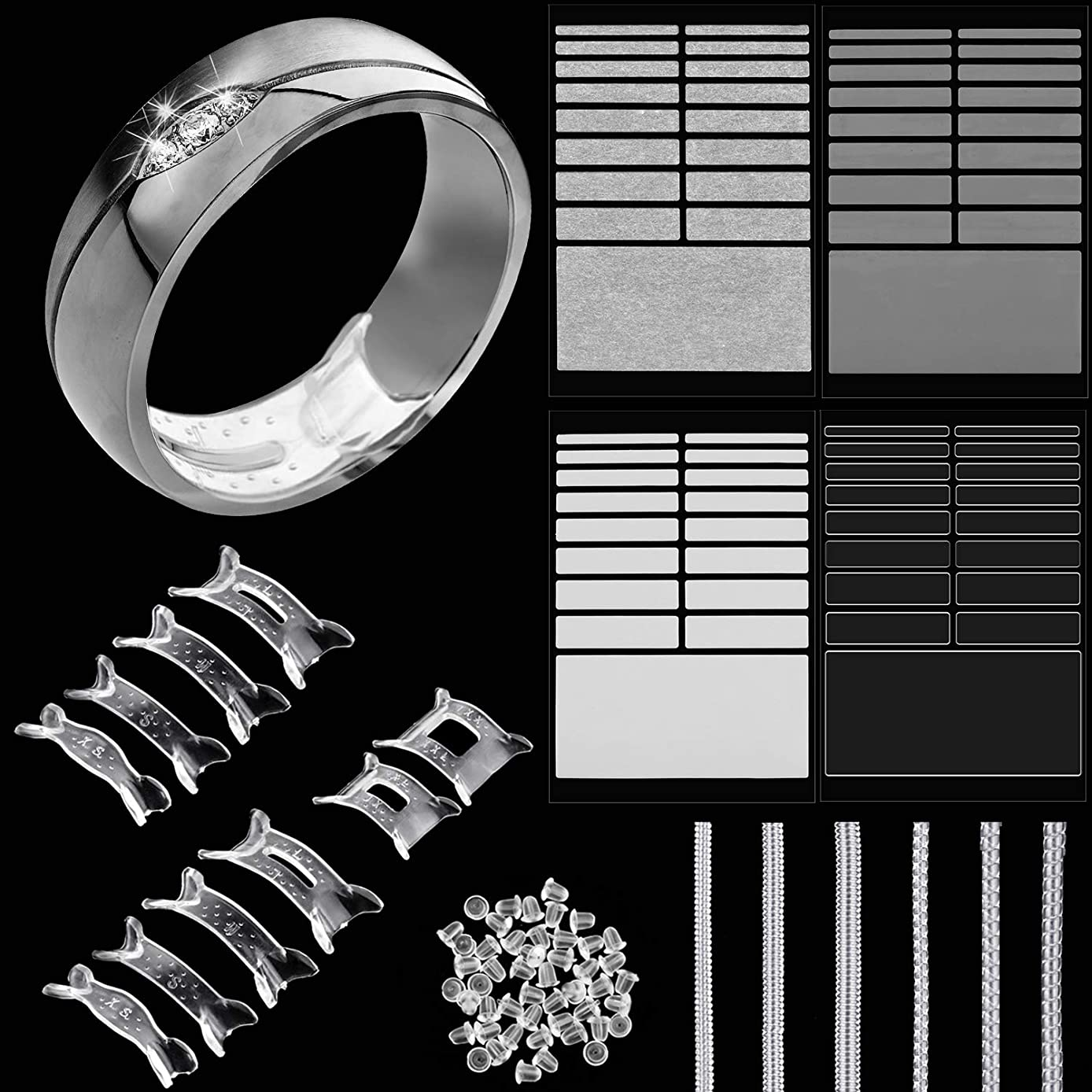 Ring Size Adjusters Invisible Ring Size Reducer for Any Size Loose Ring, Ring Adjuster with Jewelry Polishing Cloth, 3 Styles (Set 2)