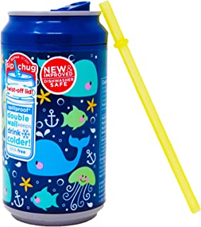 Can Insulated Tumbler 12 Ounce Spill Proof Cup With Lid and Straw, Sea Creatures