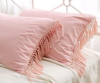 Meaning4 Pink Tassels Pillow Shams Boho Pillowcases Pure Cotton Pillow Covers King Size 20x36 Inch 2 Pieces Solid