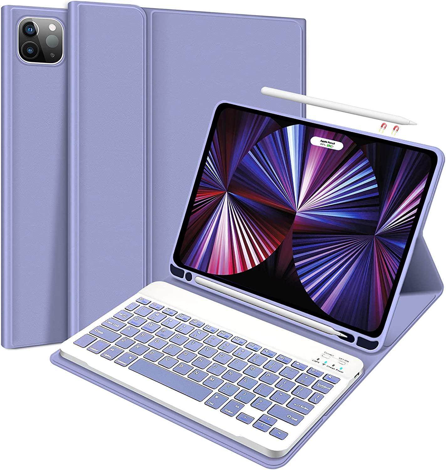 2021 iPad Pro 11 Case with Keyboard - Case for iPad Pro 11 2020&2021 (2nd/3rd Generation) with Detachable Wireless Keyboard Pencil Holder- iPad Pro 11 inch case Keyboard for Tablet (Purple)