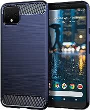 yuanming Google Pixel 4 XL Case, [Shock Resistant] Carbon Fiber Soft TPU Brushed Texture Phone case Anti-Fingerprint Flexible Full-Body Protective Cover for Google Pixel 4 XL (Blue)