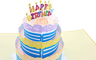 PopLife Happy Birthday Card - 3D Colorful Cake Pop Up Birthday Card - HBD Candles - Fold Flat for Mailing - Gift for Grandkids, Grandma, Over the Hill, Three-tier Cake, Surprise Party, Small Gift
