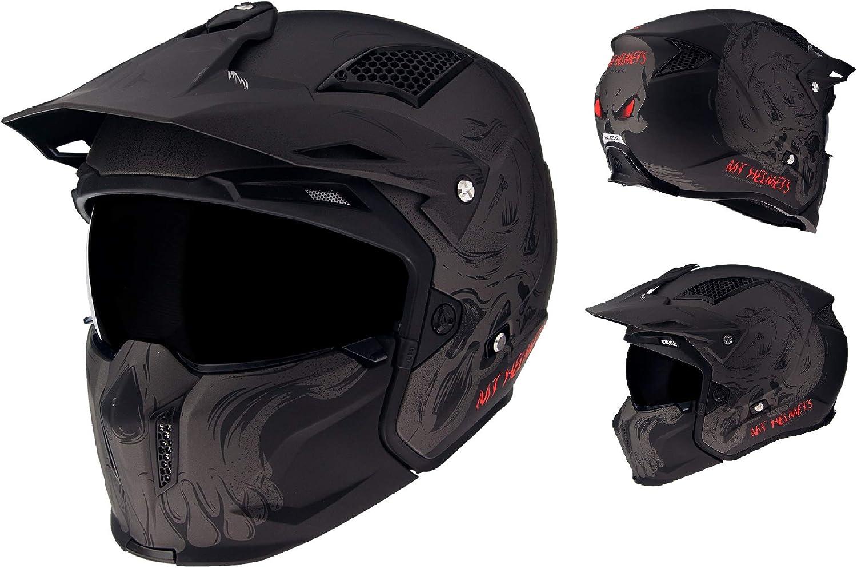 MOTORCYCLE MT STREETFIGHTER SV OPEN FACE HELMET DARKNESS MATT BLACK GREY NEW 2020Motorbike Biker Rider Classic Crash Sports Touring Urban Jet Helmet