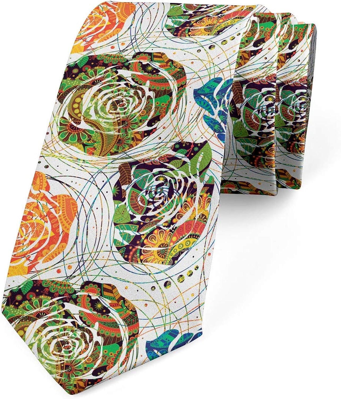 Ambesonne Men's Tie, Paisley Inspired Mandala, Necktie, 3.7