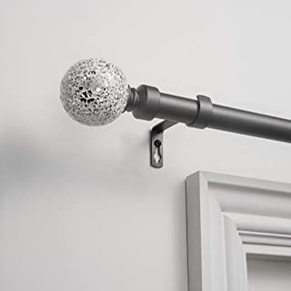 Exclusive Home Curtains White Mosaic Curtain Rod and Finial Set, 36